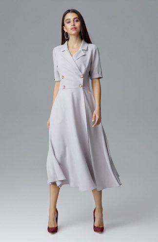 Sukienka midi z guzikami szara