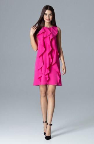 Sukienka z pionowymi falbankami fuksja