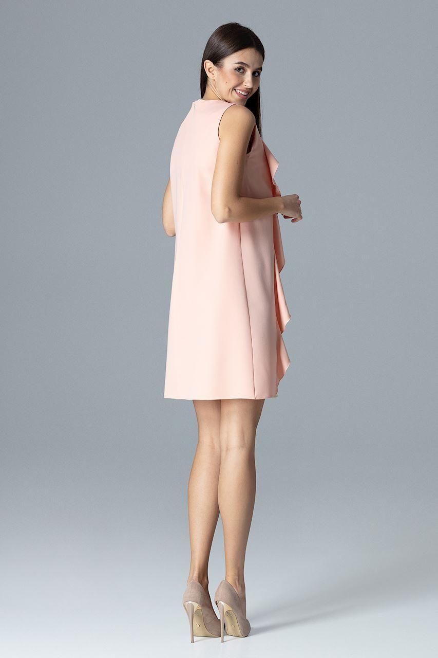 5aef4ae401 Sukienka z pionowymi falbankami różowa · 13Sukienek.pl