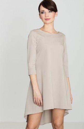 Sukienka z dłuższym tyłem beżowa