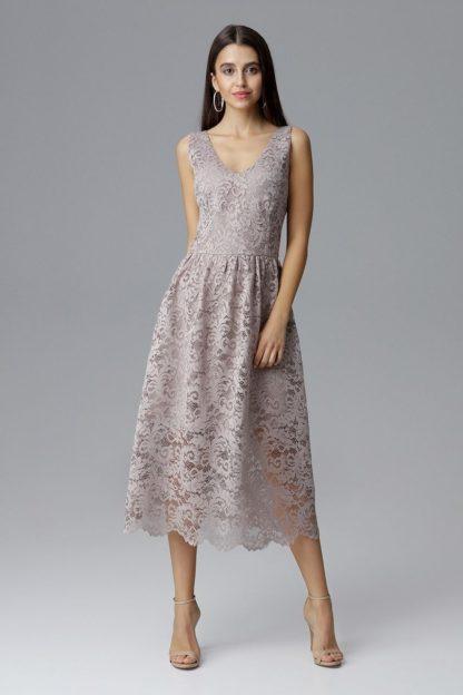 Sukienka midi koronkowa beżowa