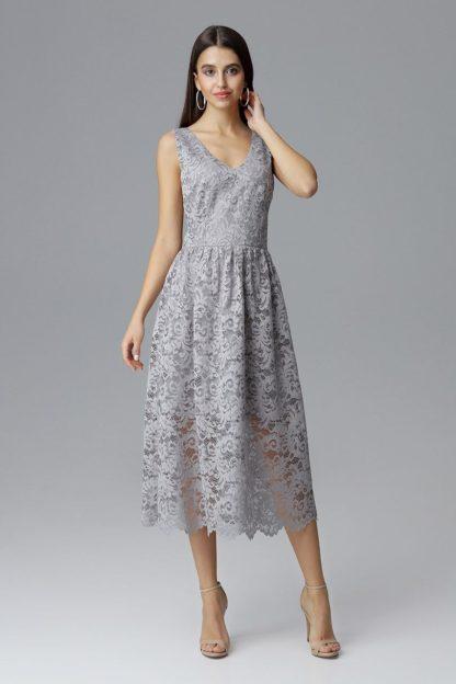 Sukienka midi koronkowa szara