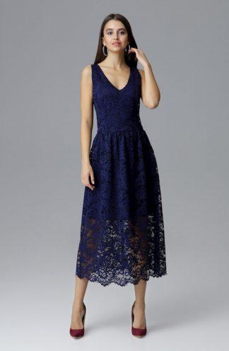 Sukienka midi koronkowa granatowa