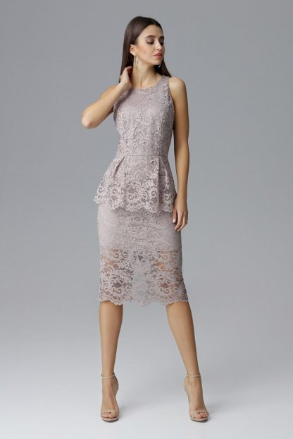 Sukienka midi z baskinką beżowa