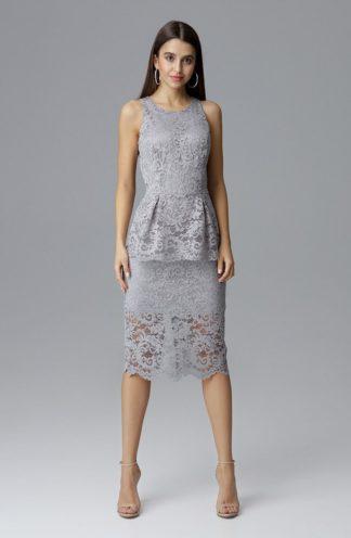 Sukienka midi z baskinką szara