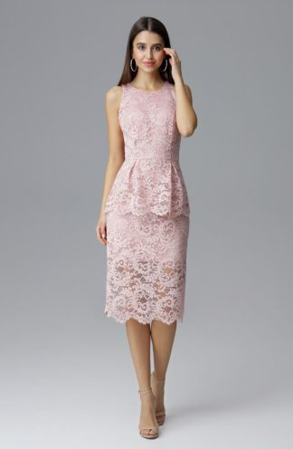 Sukienka midi z baskinką różowa