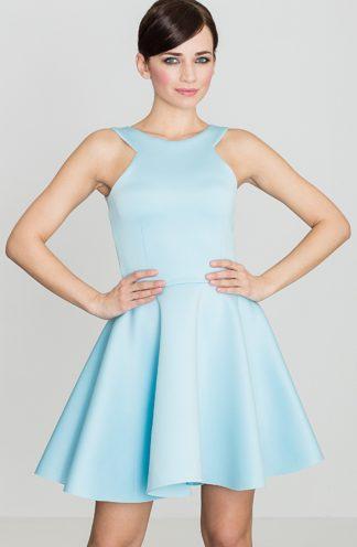 Rozkloszowana sukienka niebieska