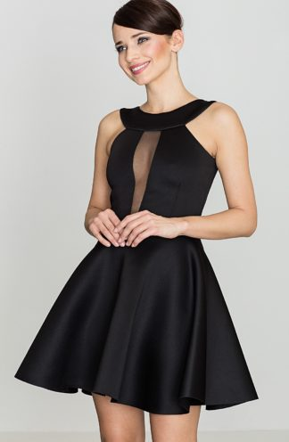 Sukienka z transparentnym dekoltem czarna