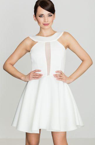 Sukienka z transparentnym dekoltem ecru