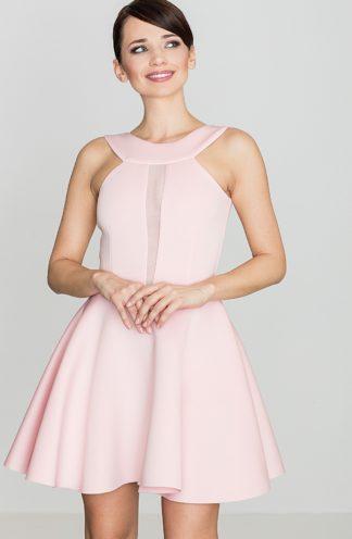 Sukienka z transparentnym dekoltem różowa