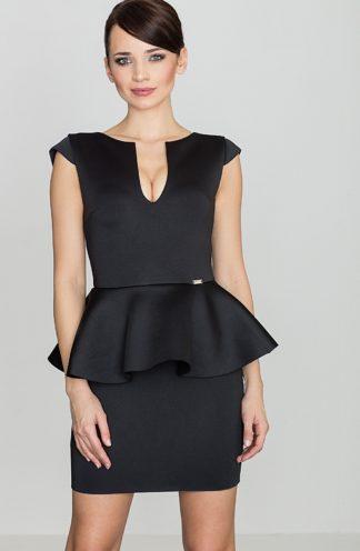 Dopasowana sukienka z baskinką czarna