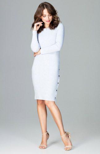 Prążkowana sukienka z guzikami błękitna