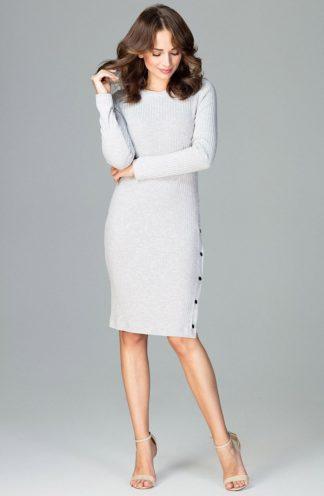 Prążkowana sukienka z guzikami szara
