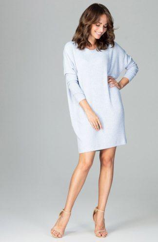 Luźna sukienka z rękawem błękitna