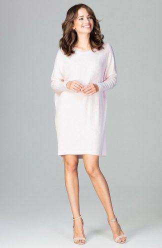 Luźna sukienka z rękawem różowa