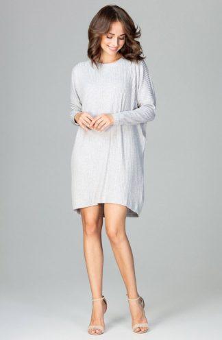 Luźna sukienka z rękawem szara