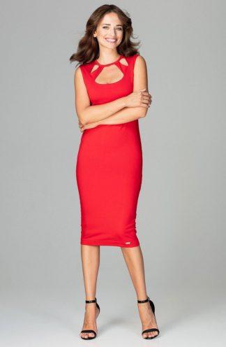 Sukienka midi z paseczkami czerwona