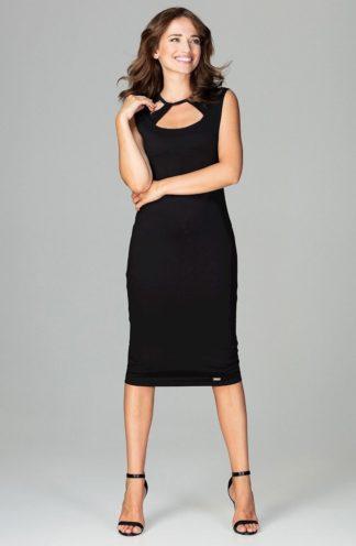 Sukienka midi z paseczkami czarna