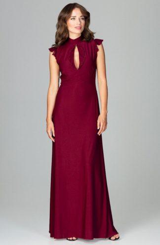 Sukienka z dekoltem łezka bordowa
