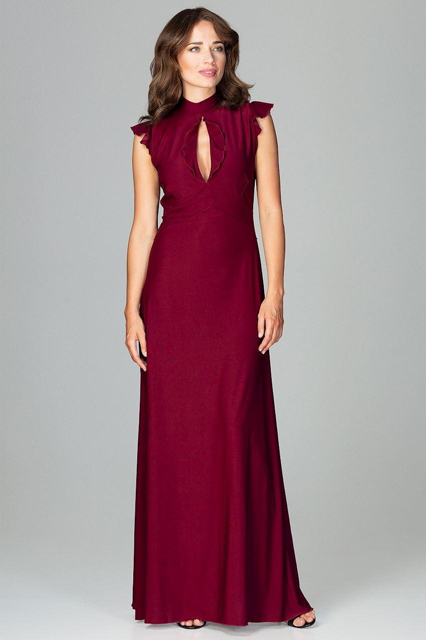 Sukienka z dekoltem łezka bordowa | Sukienki długie | Sklep