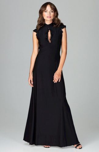 Sukienka z dekoltem łezka czarna