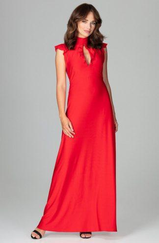 Sukienka z dekoltem łezka czerwona