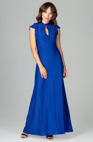 Sukienka z dekoltem łezka niebieska