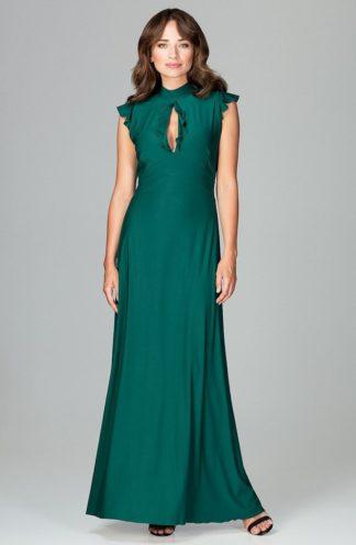 Sukienka z dekoltem łezka zielona