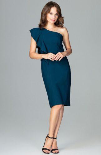 Sukienka na jedno ramię niebieska