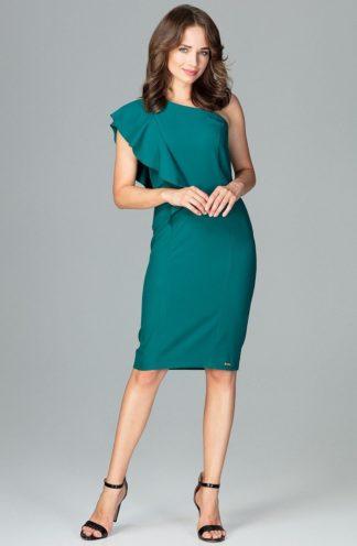 Sukienka na jedno ramię zielona