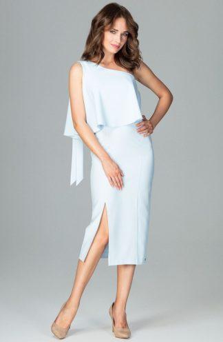 Sukienka midi z rozcięciem błękitna