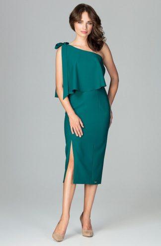 Sukienka midi z rozcięciem zielona