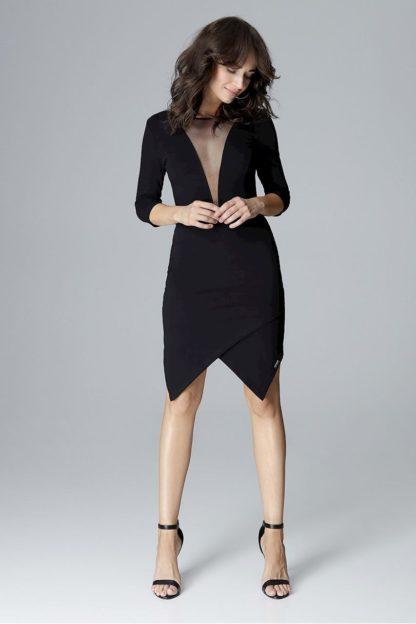 Sukienka asymetryczna z dekoltem czarna