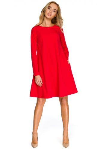 Sukienka trapezowa z rękawem czerwona