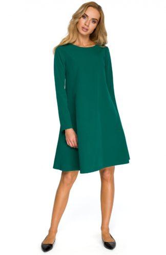 Sukienka trapezowa z rękawem zielona