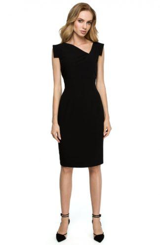 Sukienka z geometrycznymi rękawami czarna
