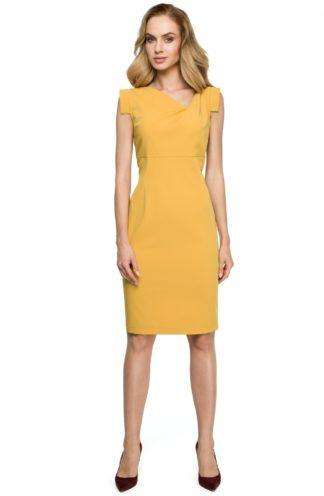 Sukienka z geometrycznymi rękawami żółta