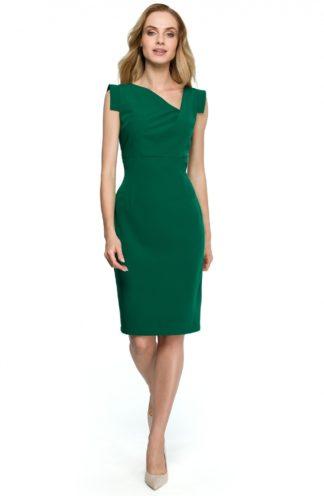 Sukienka z geometrycznymi rękawami zielona