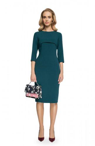 Sukienka ołówkowa z narzutką zielona