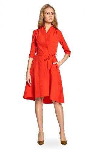 Sukienka zakładana midi czerwona