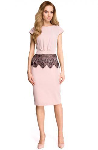 Sukienka z koronkową baskinką różowa