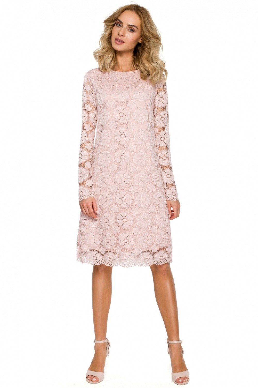 4fcb540f67 Sukienka trapezowa z koronki różowa · 13Sukienek.pl
