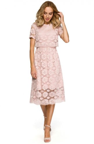 Sukienka z kwiatowej koronki różowa