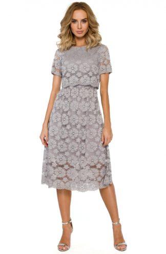 Sukienka z kwiatowej koronki szara