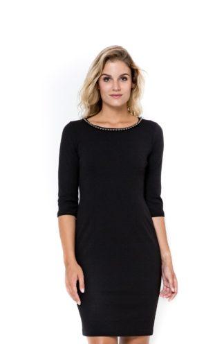 Sukienka z perełkami czarna