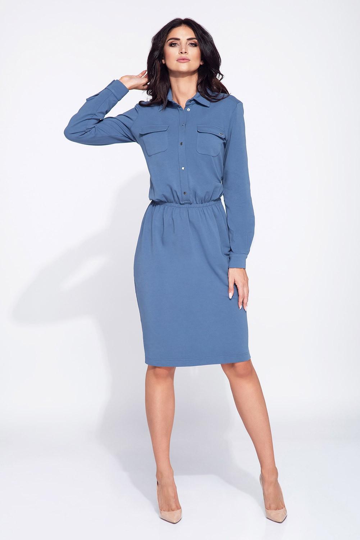 ef371517 Sukienka midi zapinana na guziki niebieska