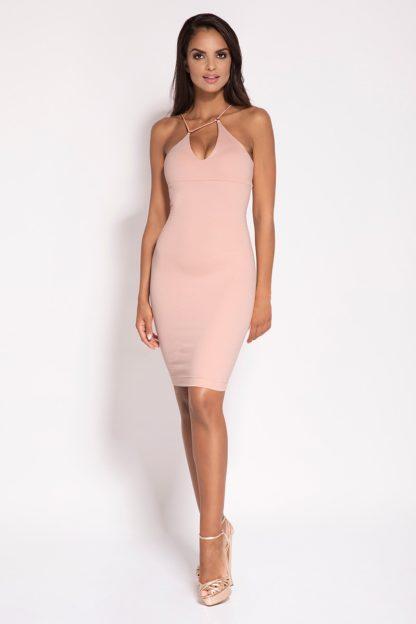 Wieczorowa dopasowana sukienka różowa