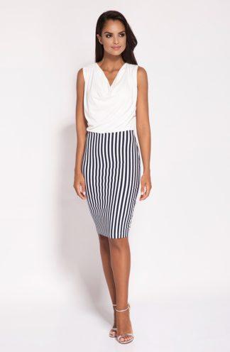 Sukienka z spódnicą w pasy biała