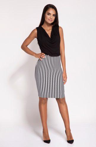 Sukienka z spódnicą w pasy czarna