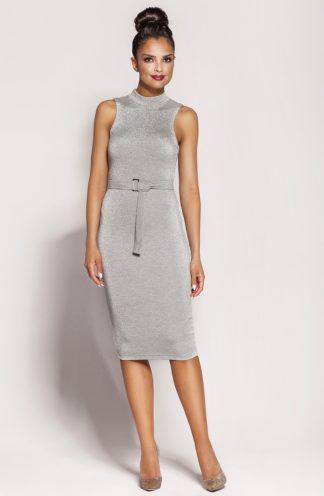 Sukienka biznesowa z paskiem szara